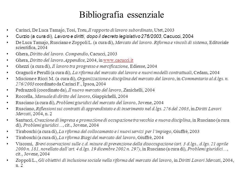 Bibliografia essenziale Carinci, De Luca Tamajo, Tosi, Treu, Il rapporto di lavoro subordinato, Utet, 2003 Curzio (a cura di), Lavoro e diritti, dopo