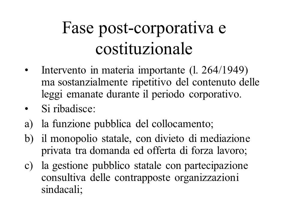 Fase post-corporativa e costituzionale Intervento in materia importante (l. 264/1949) ma sostanzialmente ripetitivo del contenuto delle leggi emanate
