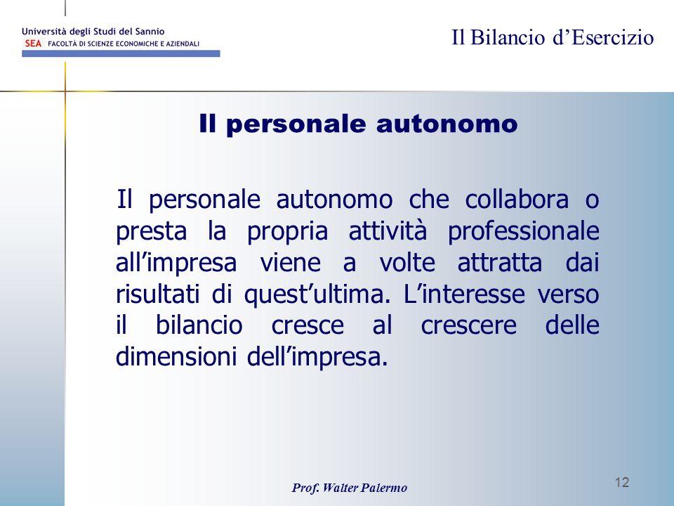 Il Bilancio dEsercizio Prof. Walter Palermo 12 Il personale autonomo Il personale autonomo che collabora o presta la propria attività professionale al