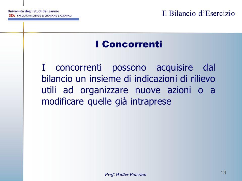 Il Bilancio dEsercizio Prof. Walter Palermo 13 I Concorrenti I concorrenti possono acquisire dal bilancio un insieme di indicazioni di rilievo utili a