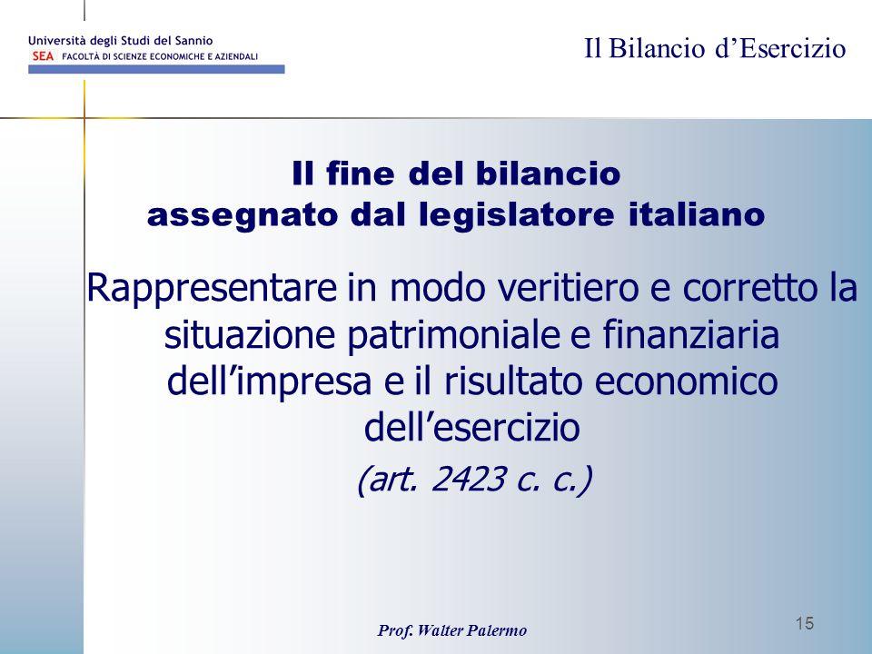 Il Bilancio dEsercizio Prof. Walter Palermo 15 Rappresentare in modo veritiero e corretto la situazione patrimoniale e finanziaria dellimpresa e il ri