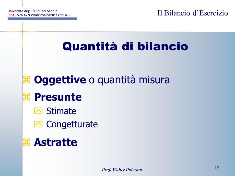 Il Bilancio dEsercizio Prof. Walter Palermo 18 Quantità di bilancio z Oggettive o quantità misura z Presunte y Stimate y Congetturate z Astratte
