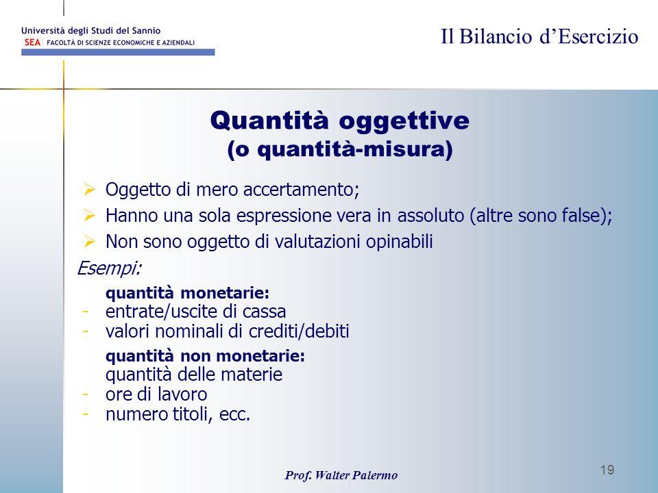 Il Bilancio dEsercizio Prof. Walter Palermo 19 Quantità oggettive (o quantità-misura) Oggetto di mero accertamento; Hanno una sola espressione vera in