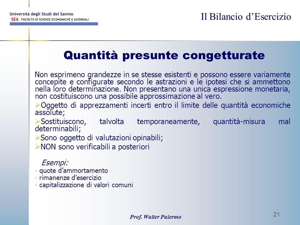 Il Bilancio dEsercizio Prof. Walter Palermo 21 Quantità presunte congetturate Non esprimeno grandezze in se stesse esistenti e possono essere variamen