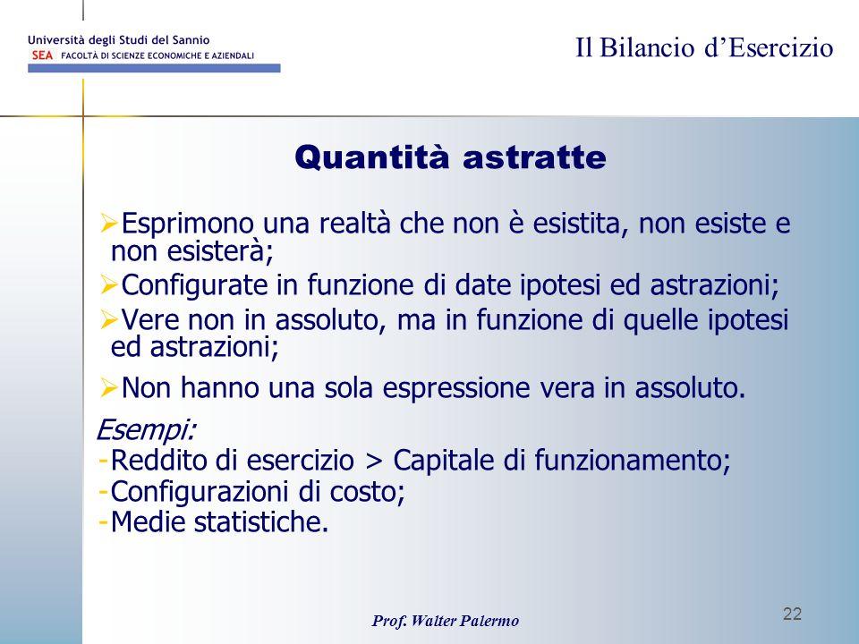 Il Bilancio dEsercizio Prof. Walter Palermo 22 Quantità astratte Esprimono una realtà che non è esistita, non esiste e non esisterà; Configurate in fu
