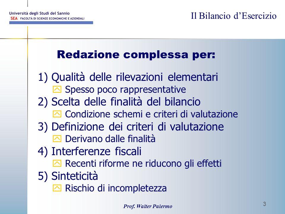 Il Bilancio dEsercizio Prof. Walter Palermo 3 Redazione complessa per: 1) Qualità delle rilevazioni elementari y Spesso poco rappresentative 2) Scelta