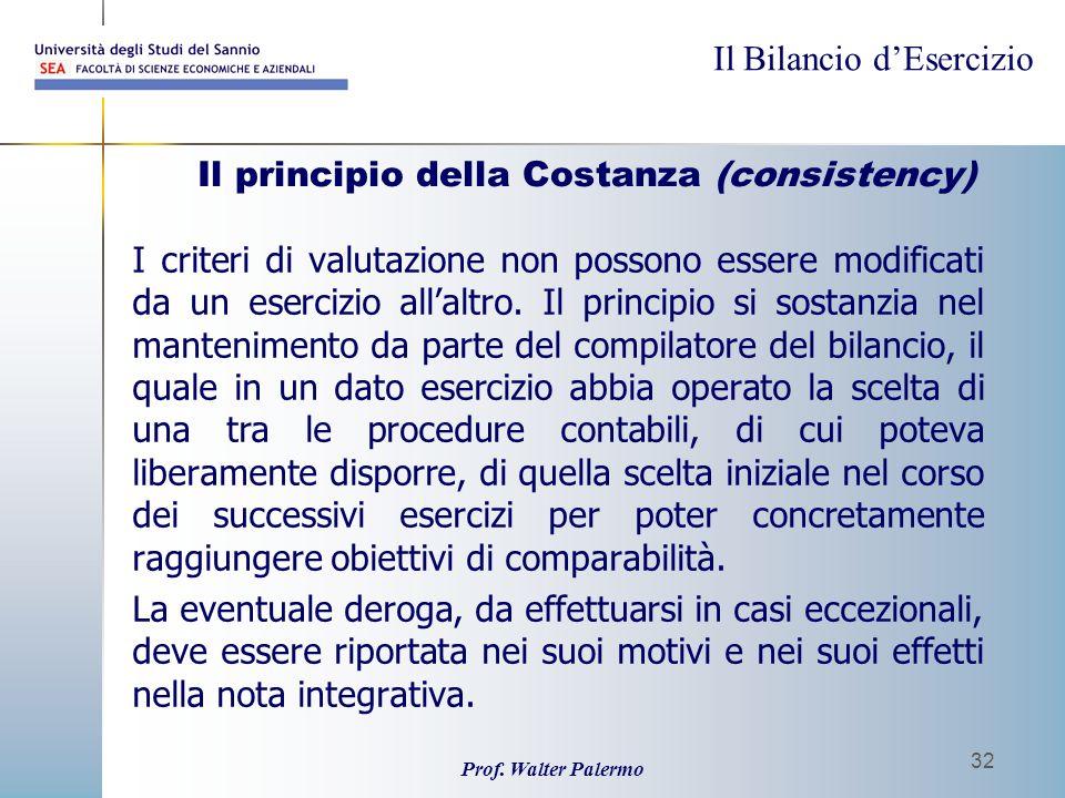 Il Bilancio dEsercizio Prof. Walter Palermo 32 Il principio della Costanza (consistency) I criteri di valutazione non possono essere modificati da un