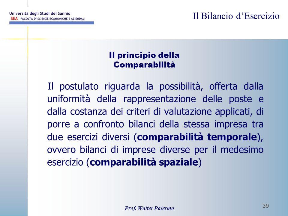 Il Bilancio dEsercizio Prof. Walter Palermo 39 Il principio della Comparabilità Il postulato riguarda la possibilità, offerta dalla uniformità della r