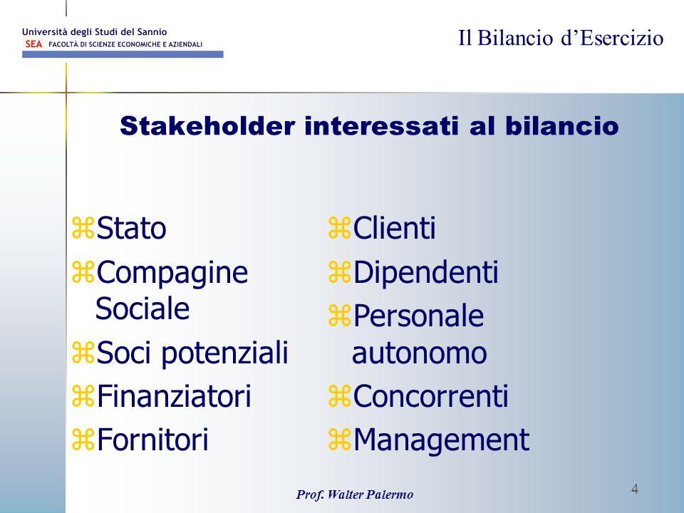 Il Bilancio dEsercizio Prof. Walter Palermo 4 Stakeholder interessati al bilancio zStato zCompagine Sociale zSoci potenziali zFinanziatori zFornitori