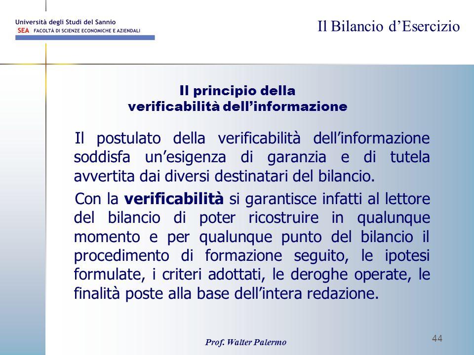Il Bilancio dEsercizio Prof. Walter Palermo 44 Il principio della verificabilità dellinformazione Il postulato della verificabilità dellinformazione s