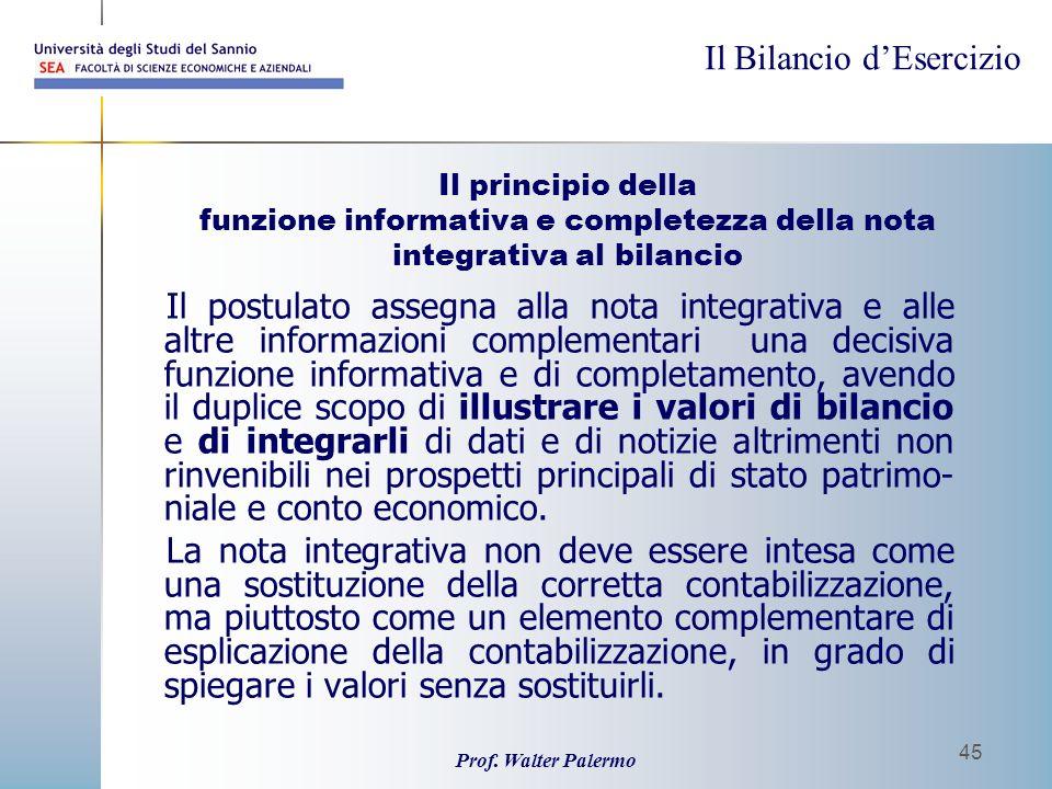 Il Bilancio dEsercizio Prof. Walter Palermo 45 Il principio della funzione informativa e completezza della nota integrativa al bilancio Il postulato a