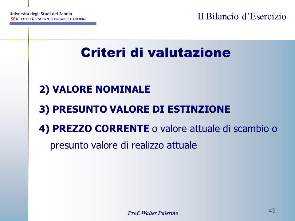 Il Bilancio dEsercizio Prof. Walter Palermo 49 Criteri di valutazione 2) VALORE NOMINALE 3) PRESUNTO VALORE DI ESTINZIONE 4) PREZZO CORRENTE o valore