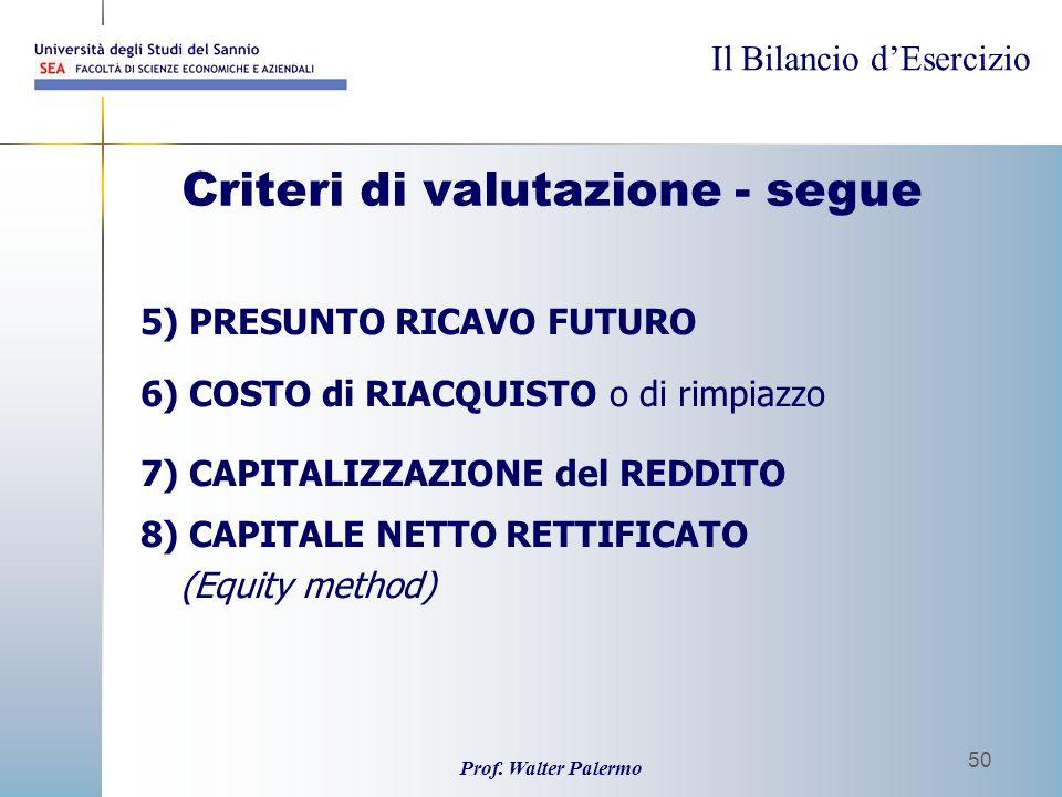 Il Bilancio dEsercizio Prof. Walter Palermo 50 Criteri di valutazione - segue 5) PRESUNTO RICAVO FUTURO 6) COSTO di RIACQUISTO o di rimpiazzo 7) CAPIT