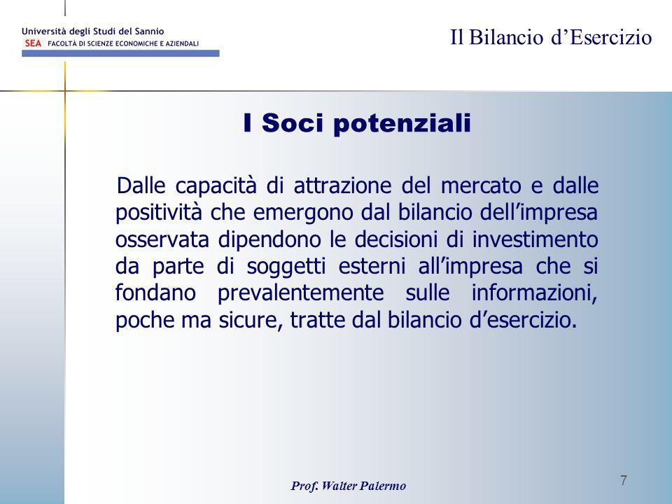 Il Bilancio dEsercizio Prof. Walter Palermo 7 I Soci potenziali Dalle capacità di attrazione del mercato e dalle positività che emergono dal bilancio