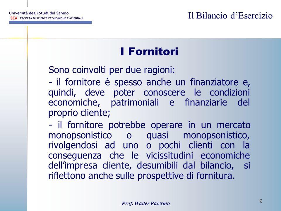 Il Bilancio dEsercizio Prof. Walter Palermo 9 I Fornitori Sono coinvolti per due ragioni: - il fornitore è spesso anche un finanziatore e, quindi, dev