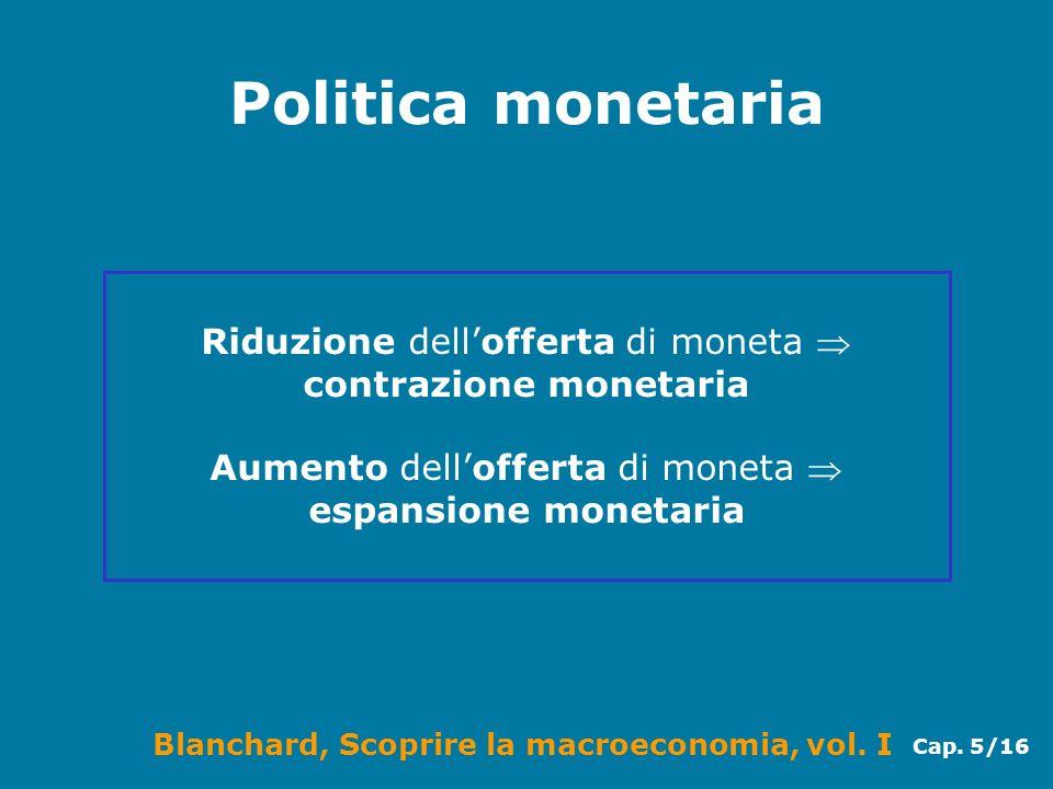 Blanchard, Scoprire la macroeconomia, vol. I Cap. 5/16 Politica monetaria Riduzione dellofferta di moneta contrazione monetaria Aumento dellofferta di