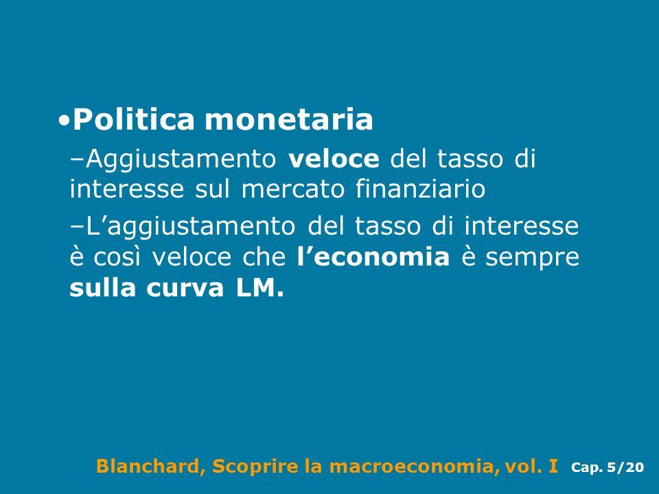Blanchard, Scoprire la macroeconomia, vol. I Cap. 5/20 Politica monetaria –Aggiustamento veloce del tasso di interesse sul mercato finanziario –Laggiu