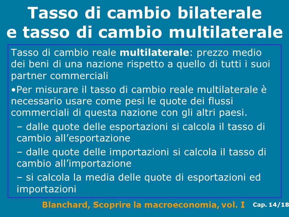 Blanchard, Scoprire la macroeconomia, vol. I Cap. 14/18 Tasso di cambio bilaterale e tasso di cambio multilaterale Tasso di cambio reale multilaterale