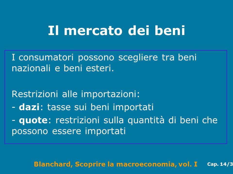 Blanchard, Scoprire la macroeconomia, vol. I Cap. 14/3 Il mercato dei beni I consumatori possono scegliere tra beni nazionali e beni esteri. Restrizio