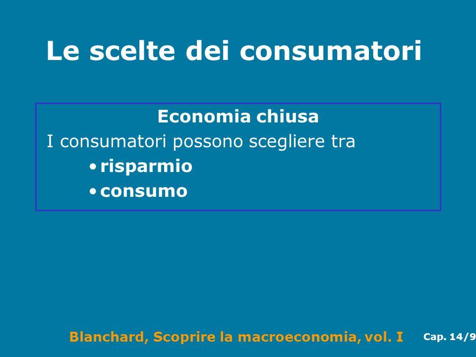 Blanchard, Scoprire la macroeconomia, vol. I Cap. 14/9 Le scelte dei consumatori Economia chiusa I consumatori possono scegliere tra risparmio consumo