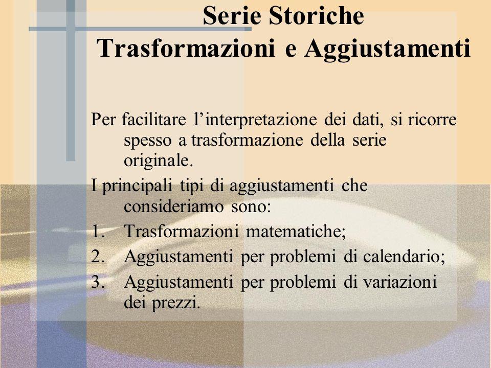 Trasformazioni Matematiche Tenuto conto che le serie storiche di natura economica presentano valori positivi, le trasformazioni più frequentemente usate sono: la radice quadrata e la funzione logaritmica.