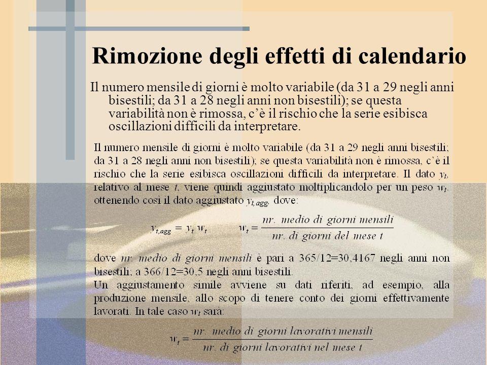 Rimozione degli effetti di calendario Il numero mensile di giorni è molto variabile (da 31 a 29 negli anni bisestili; da 31 a 28 negli anni non bisest