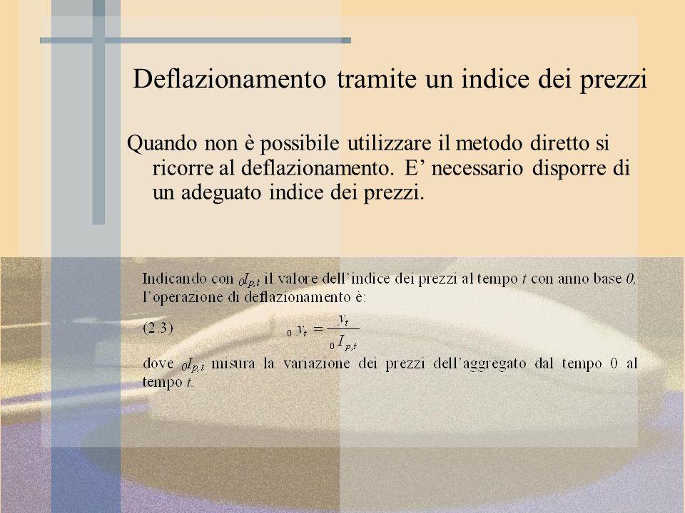 Deflazionamento tramite un indice dei prezzi Quando non è possibile utilizzare il metodo diretto si ricorre al deflazionamento. E necessario disporre