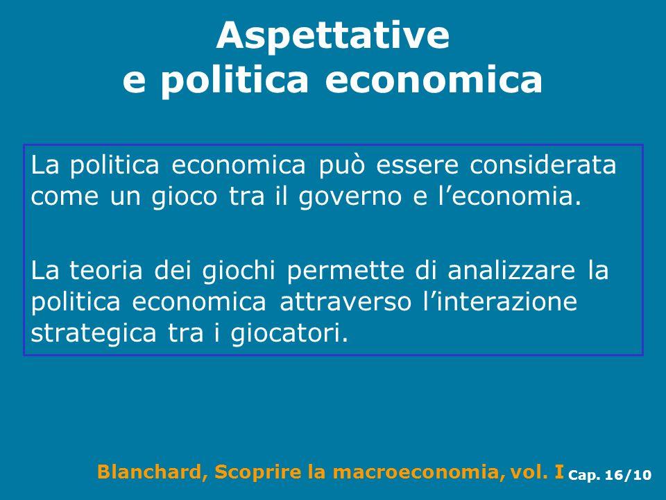 Blanchard, Scoprire la macroeconomia, vol. I Cap. 16/10 Aspettative e politica economica La politica economica può essere considerata come un gioco tr