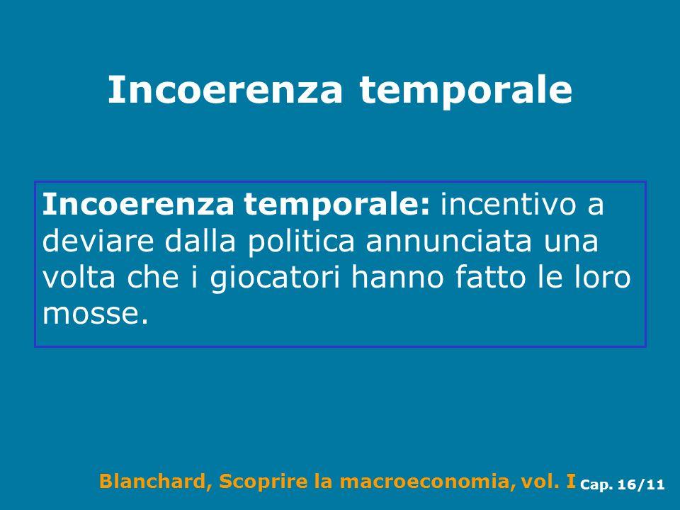 Blanchard, Scoprire la macroeconomia, vol. I Cap. 16/11 Incoerenza temporale Incoerenza temporale: incentivo a deviare dalla politica annunciata una v