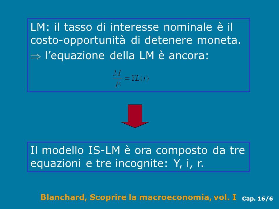 Blanchard, Scoprire la macroeconomia, vol. I Cap. 16/6 LM: il tasso di interesse nominale è il costo-opportunità di detenere moneta. lequazione della