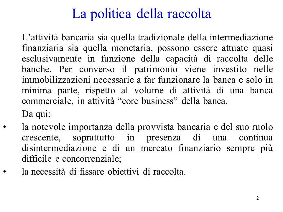 2 La politica della raccolta Lattività bancaria sia quella tradizionale della intermediazione finanziaria sia quella monetaria, possono essere attuate