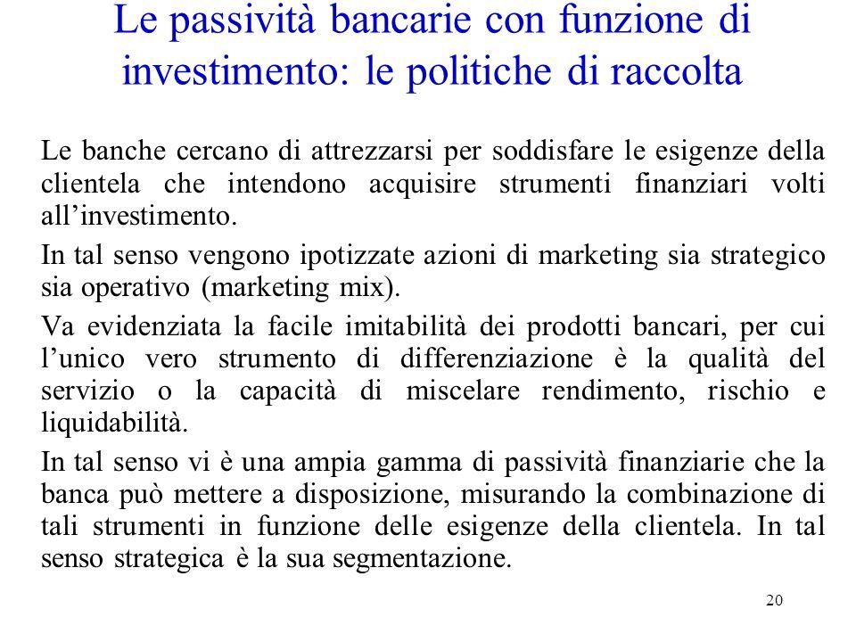 20 Le passività bancarie con funzione di investimento: le politiche di raccolta Le banche cercano di attrezzarsi per soddisfare le esigenze della clie