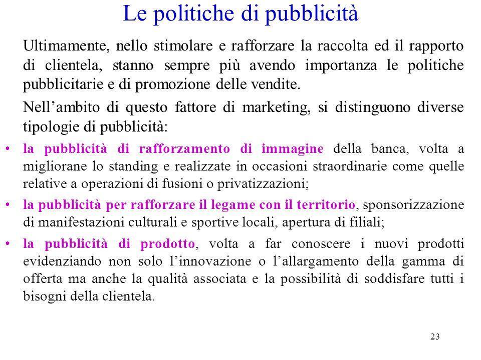 23 Le politiche di pubblicità Ultimamente, nello stimolare e rafforzare la raccolta ed il rapporto di clientela, stanno sempre più avendo importanza l
