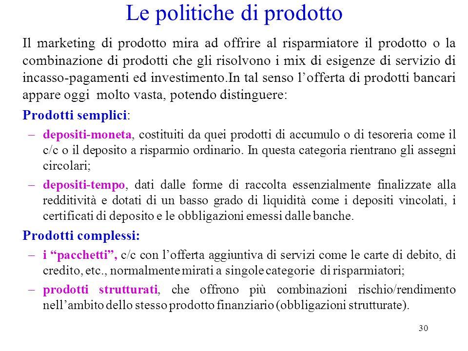 30 Le politiche di prodotto Il marketing di prodotto mira ad offrire al risparmiatore il prodotto o la combinazione di prodotti che gli risolvono i mi