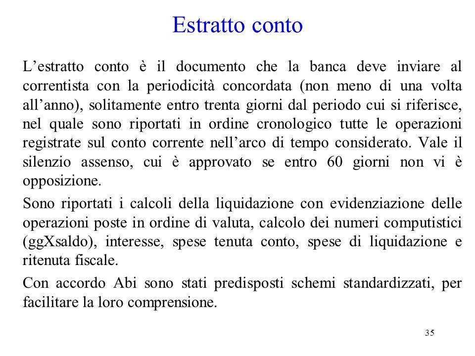 35 Estratto conto Lestratto conto è il documento che la banca deve inviare al correntista con la periodicità concordata (non meno di una volta allanno