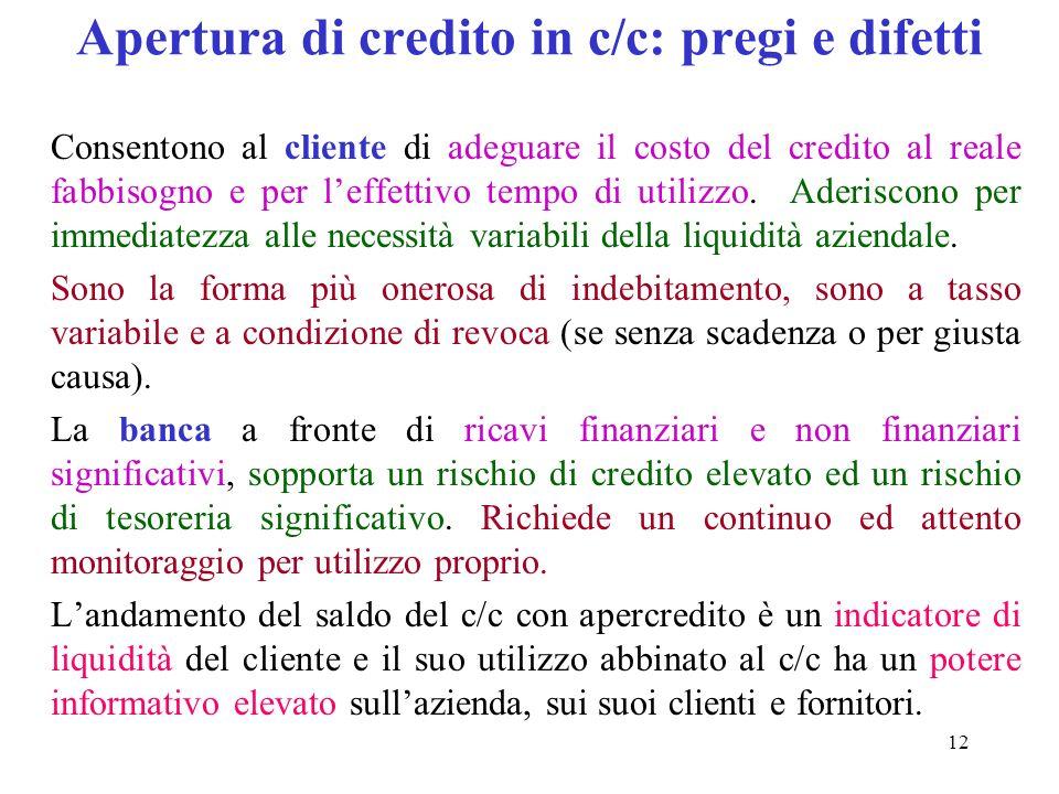 12 Apertura di credito in c/c: pregi e difetti Consentono al cliente di adeguare il costo del credito al reale fabbisogno e per leffettivo tempo di utilizzo.