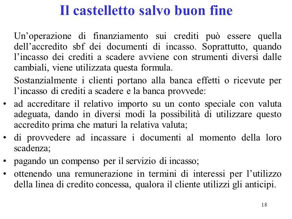 18 Il castelletto salvo buon fine Unoperazione di finanziamento sui crediti può essere quella dellaccredito sbf dei documenti di incasso.
