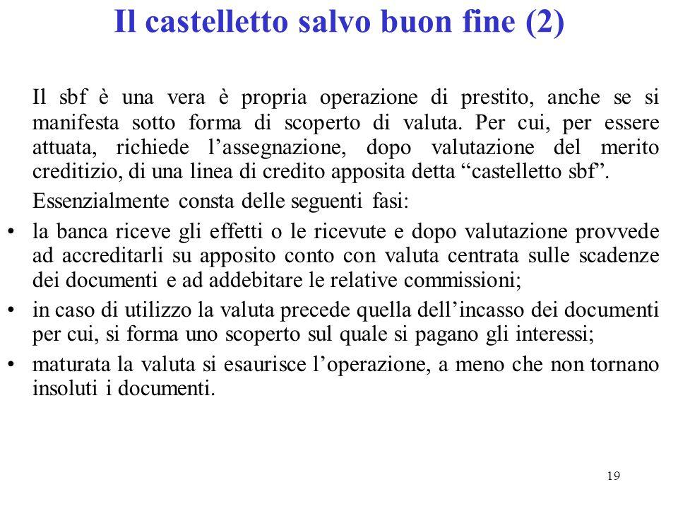 19 Il castelletto salvo buon fine (2) Il sbf è una vera è propria operazione di prestito, anche se si manifesta sotto forma di scoperto di valuta.
