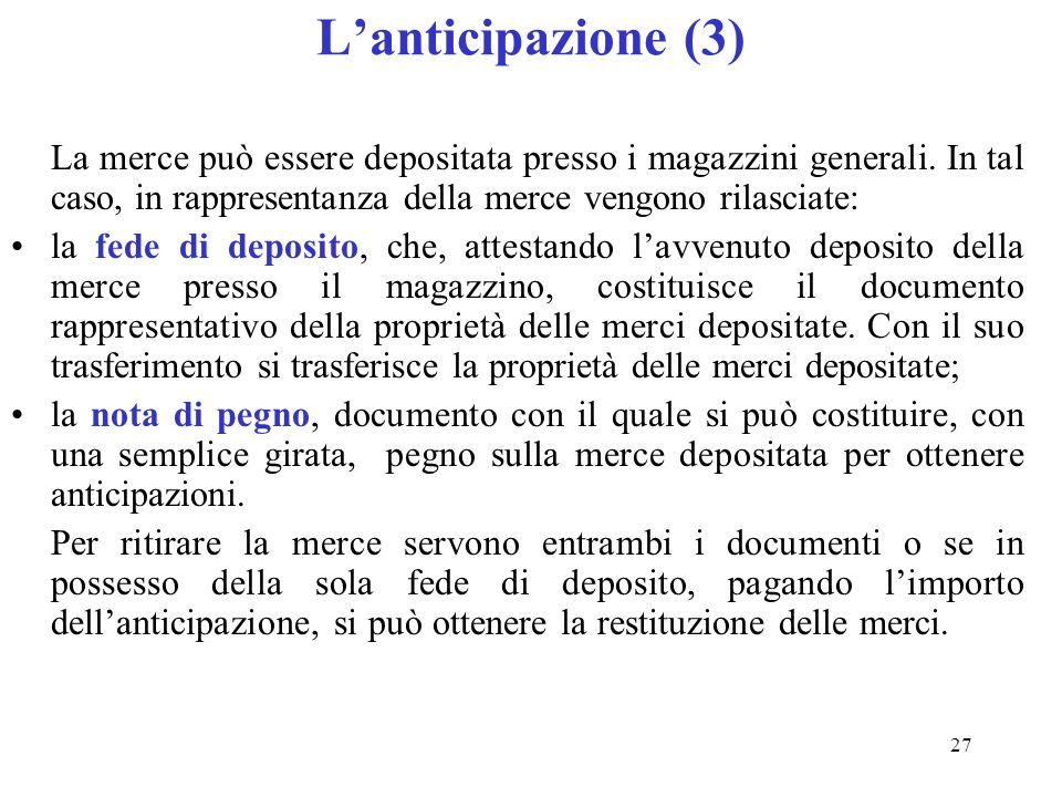 27 Lanticipazione (3) La merce può essere depositata presso i magazzini generali.
