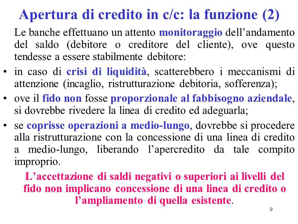 9 Apertura di credito in c/c: la funzione (2) Le banche effettuano un attento monitoraggio dellandamento del saldo (debitore o creditore del cliente), ove questo tendesse a essere stabilmente debitore: in caso di crisi di liquidità, scatterebbero i meccanismi di attenzione (incaglio, ristrutturazione debitoria, sofferenza); ove il fido non fosse proporzionale al fabbisogno aziendale, si dovrebbe rivedere la linea di credito ed adeguarla; se coprisse operazioni a medio-lungo, dovrebbe si procedere alla ristrutturazione con la concessione di una linea di credito a medio-lungo, liberando lapercredito da tale compito improprio.