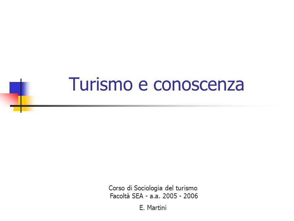 Turismo e conoscenza Corso di Sociologia del turismo Facoltà SEA - a.a. 2005 - 2006 E. Martini