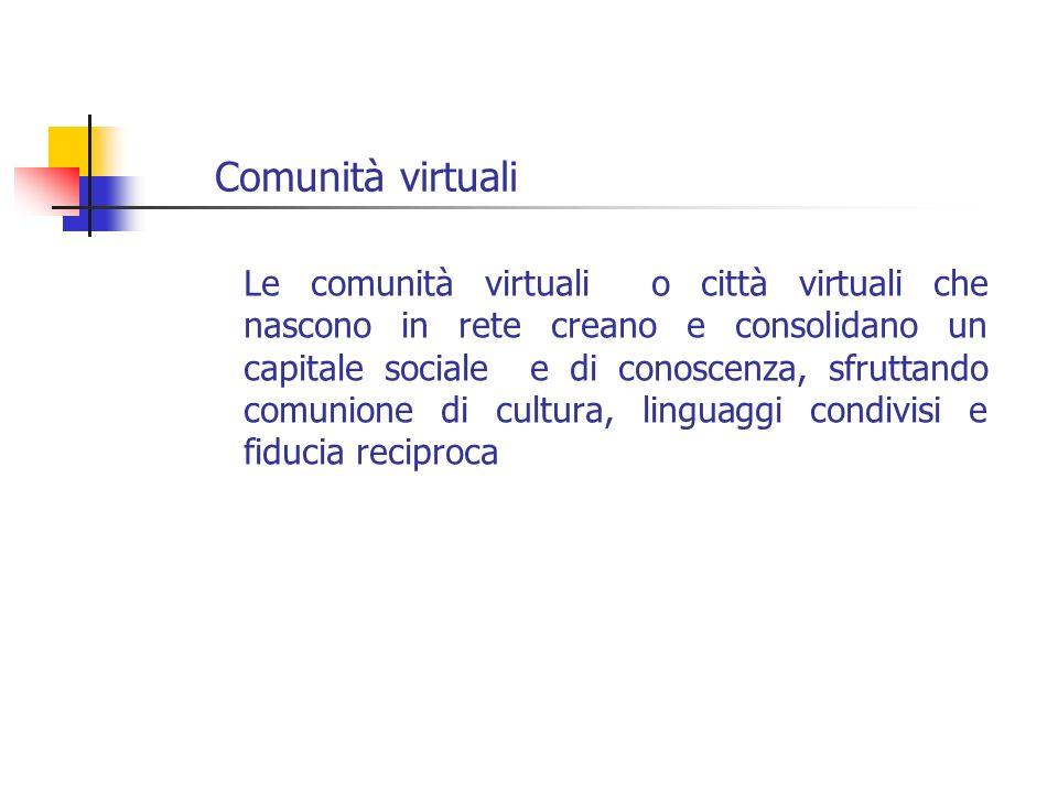Comunità virtuali Le comunità virtuali o città virtuali che nascono in rete creano e consolidano un capitale sociale e di conoscenza, sfruttando comun