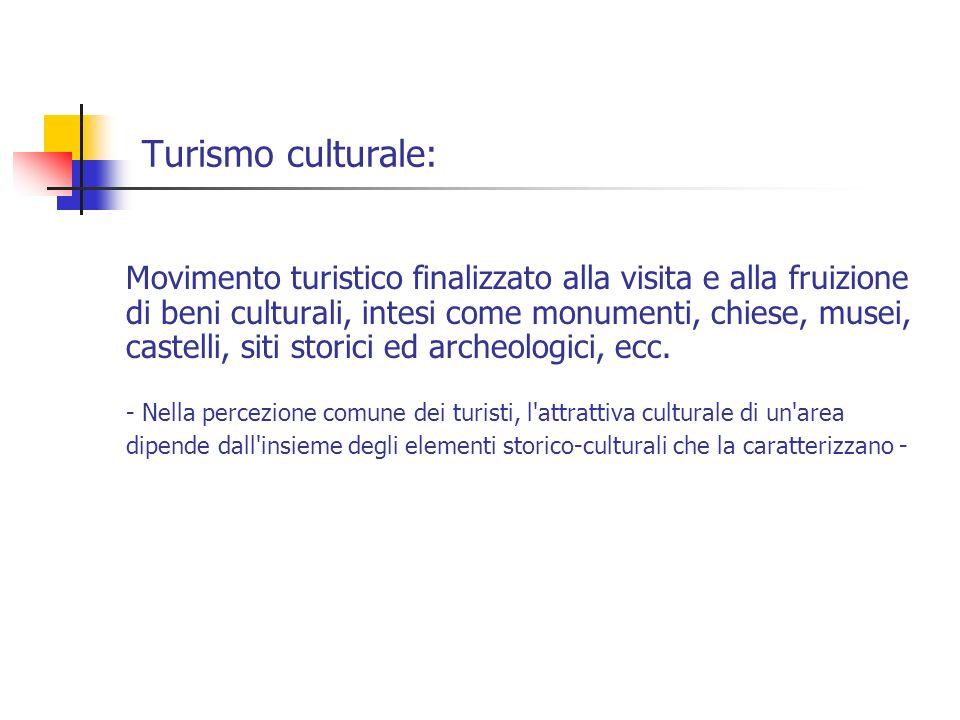 Turismo culturale: Movimento turistico finalizzato alla visita e alla fruizione di beni culturali, intesi come monumenti, chiese, musei, castelli, sit