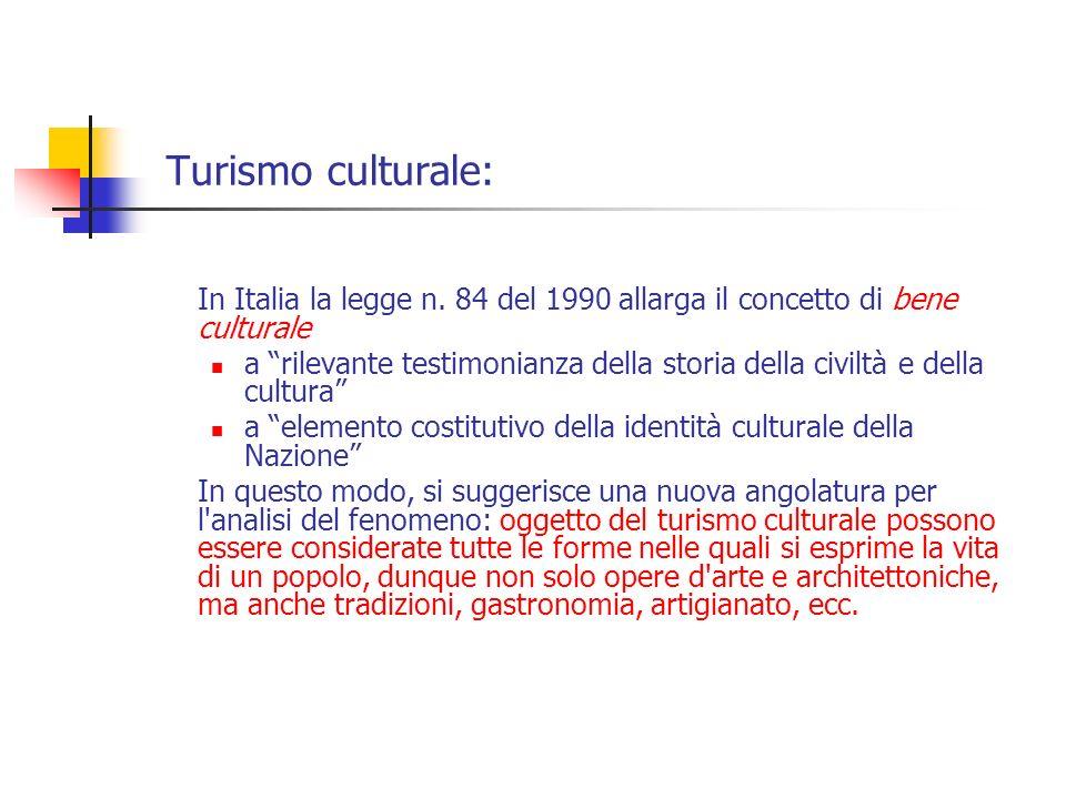 Turismo culturale: In Italia la legge n. 84 del 1990 allarga il concetto di bene culturale a rilevante testimonianza della storia della civiltà e dell