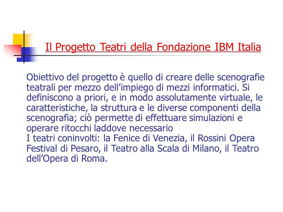 Il Progetto Teatri della Fondazione IBM Italia Obiettivo del progetto è quello di creare delle scenografie teatrali per mezzo dellimpiego di mezzi inf