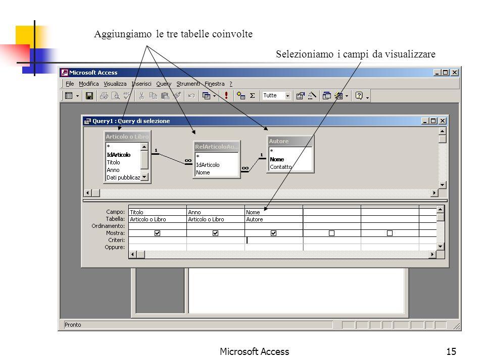 Microsoft Access15 Aggiungiamo le tre tabelle coinvolte Selezioniamo i campi da visualizzare
