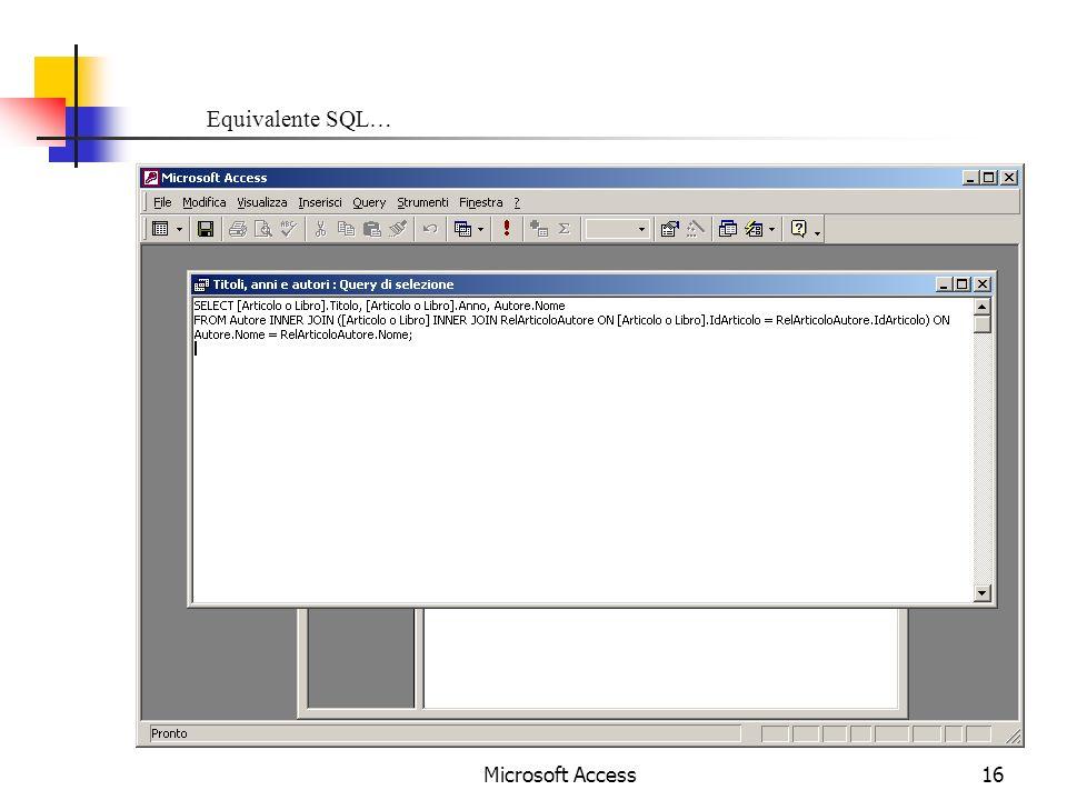 Microsoft Access16 Equivalente SQL…