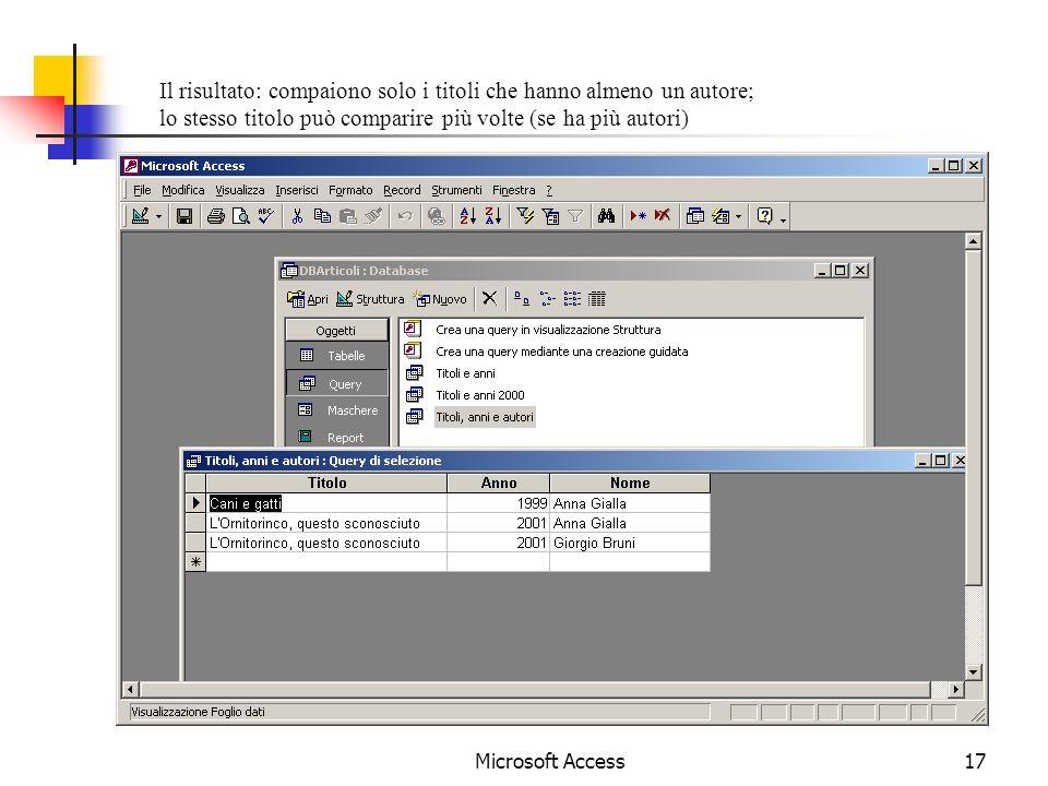 Microsoft Access17 Il risultato: compaiono solo i titoli che hanno almeno un autore; lo stesso titolo può comparire più volte (se ha più autori)