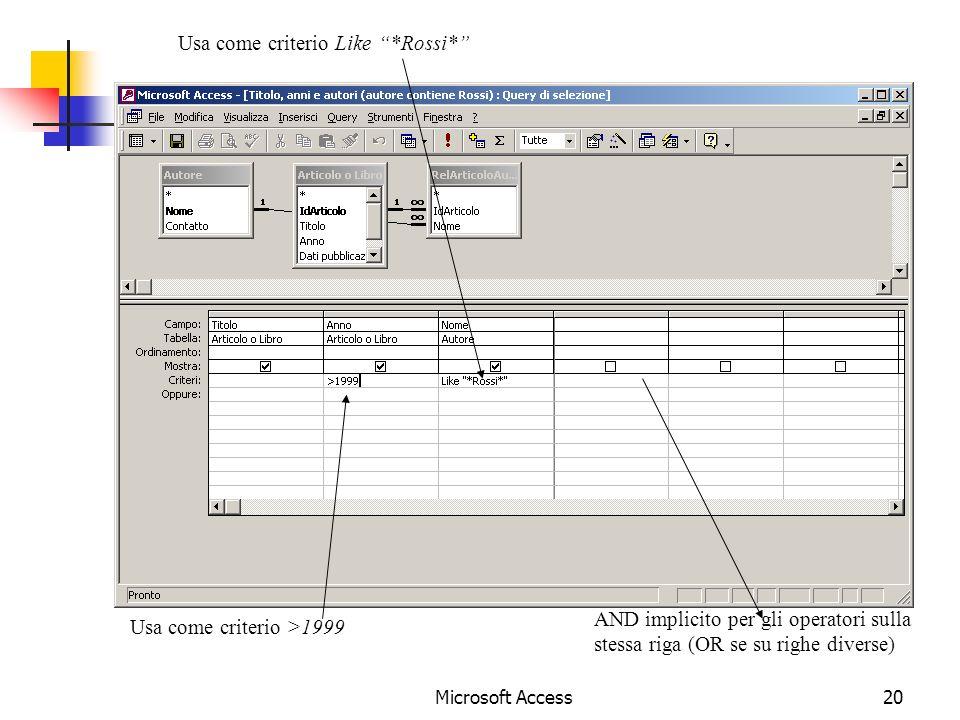 Microsoft Access20 Usa come criterio Like *Rossi* Usa come criterio >1999 AND implicito per gli operatori sulla stessa riga (OR se su righe diverse)