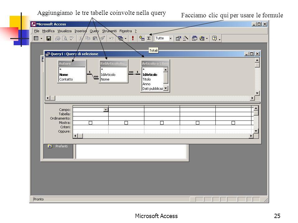 Microsoft Access25 Aggiungiamo le tre tabelle coinvolte nella query Facciamo clic qui per usare le formule